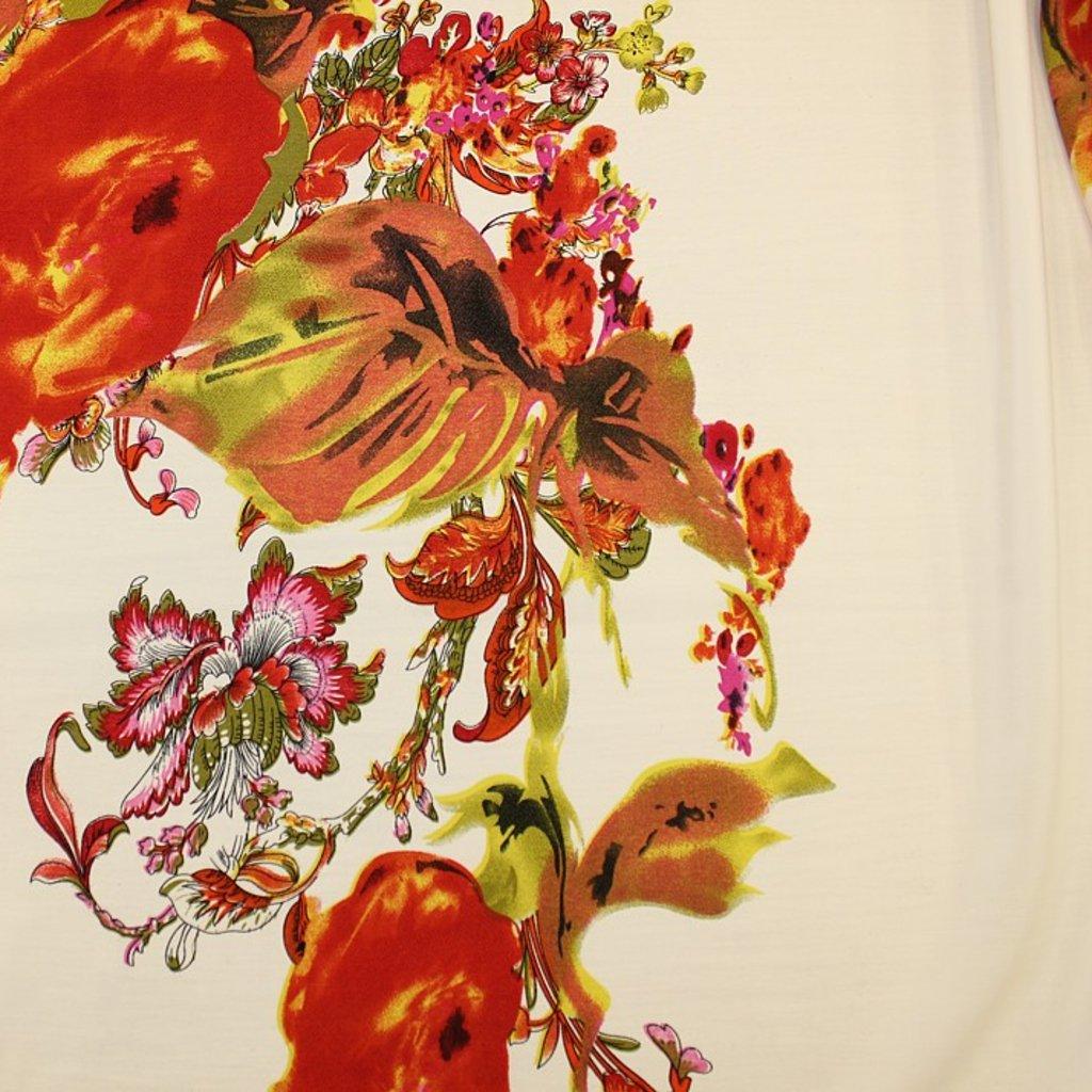 Polyester jemný s výrazným středovým vzorem kytek v oranžové barvě