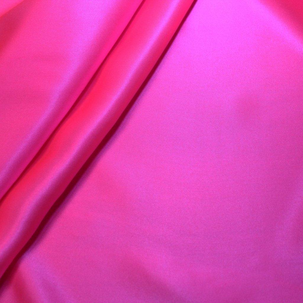 Hedvábí pravé saténové svítivě růžové