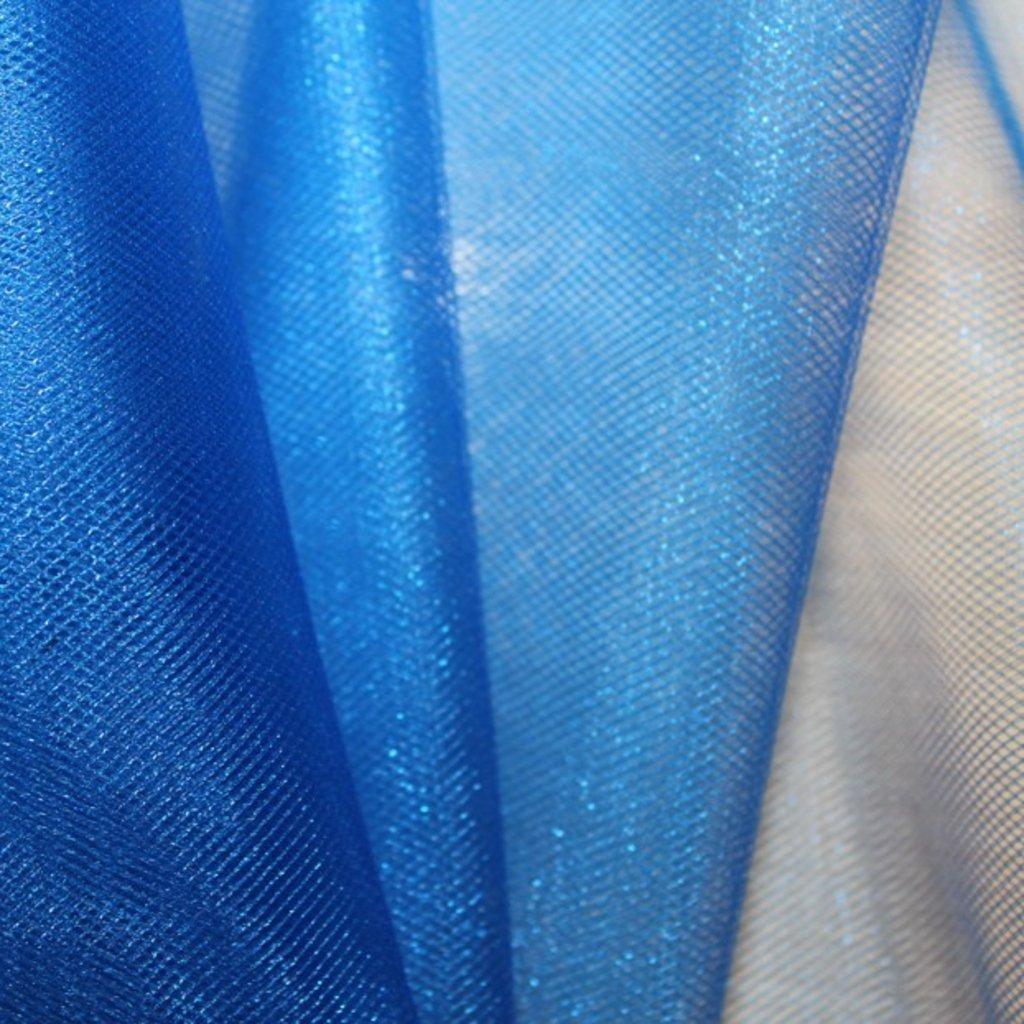 Tyl modrý třpytivý