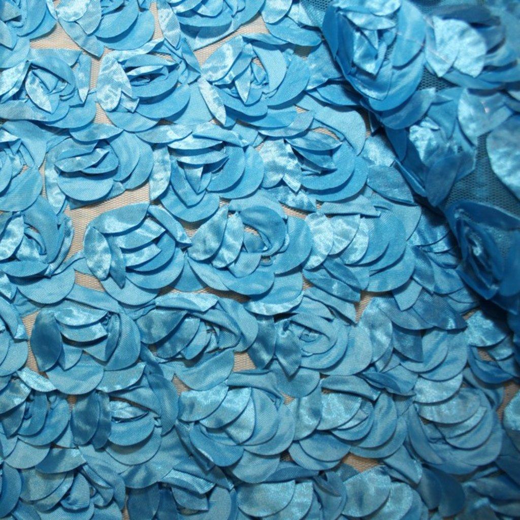 Tyl jemný s růžemi modrý