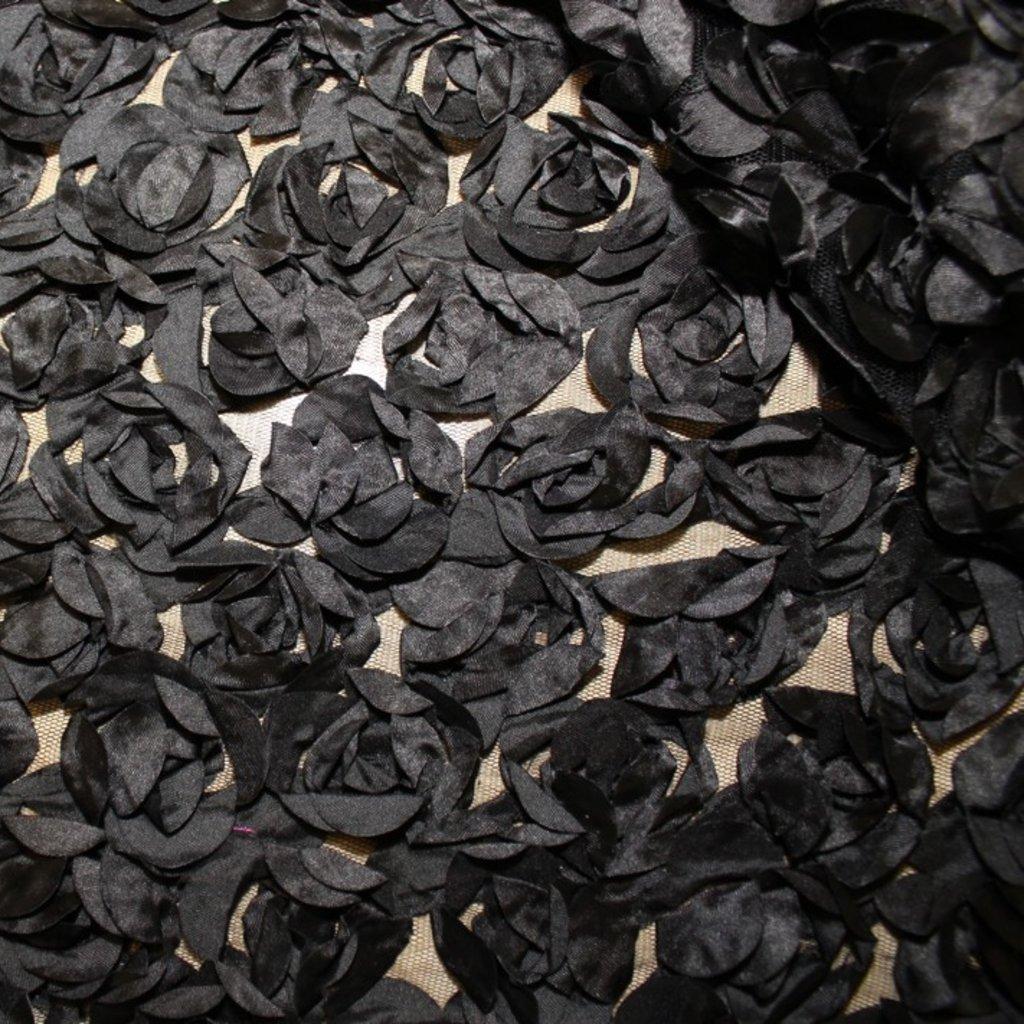 Tyl jemný s růžemi černý