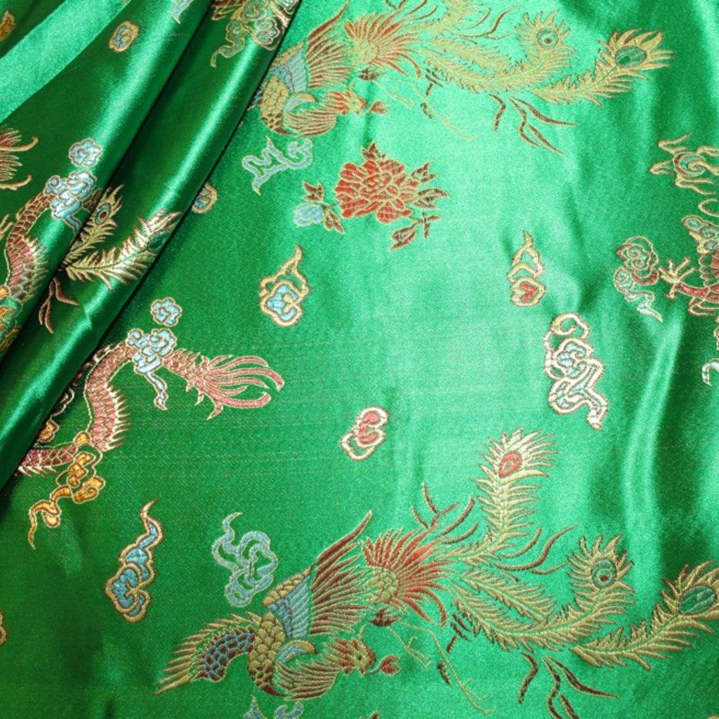 Brokát s čínským motivem zelený