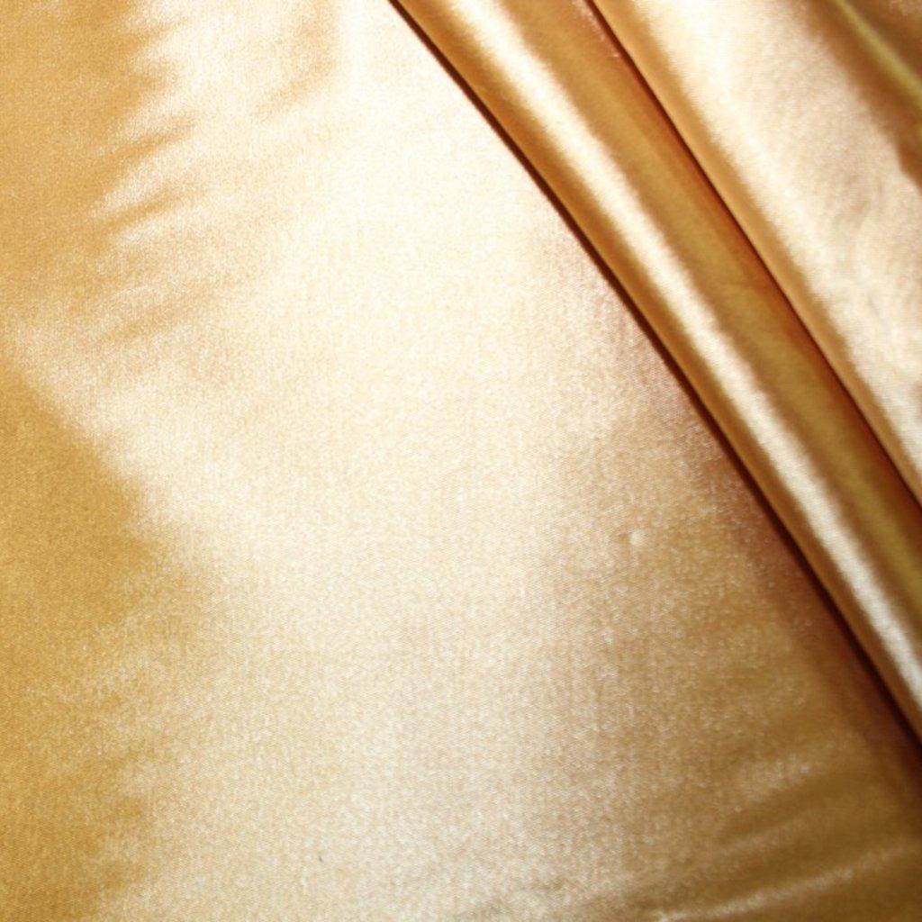 Satén strečový zlatý