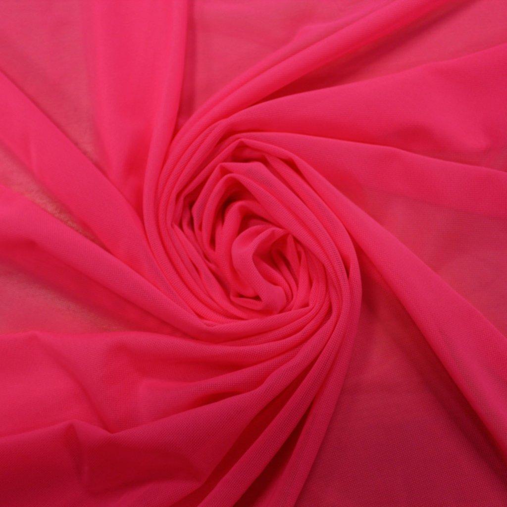 Tyl pružný neonově růžový