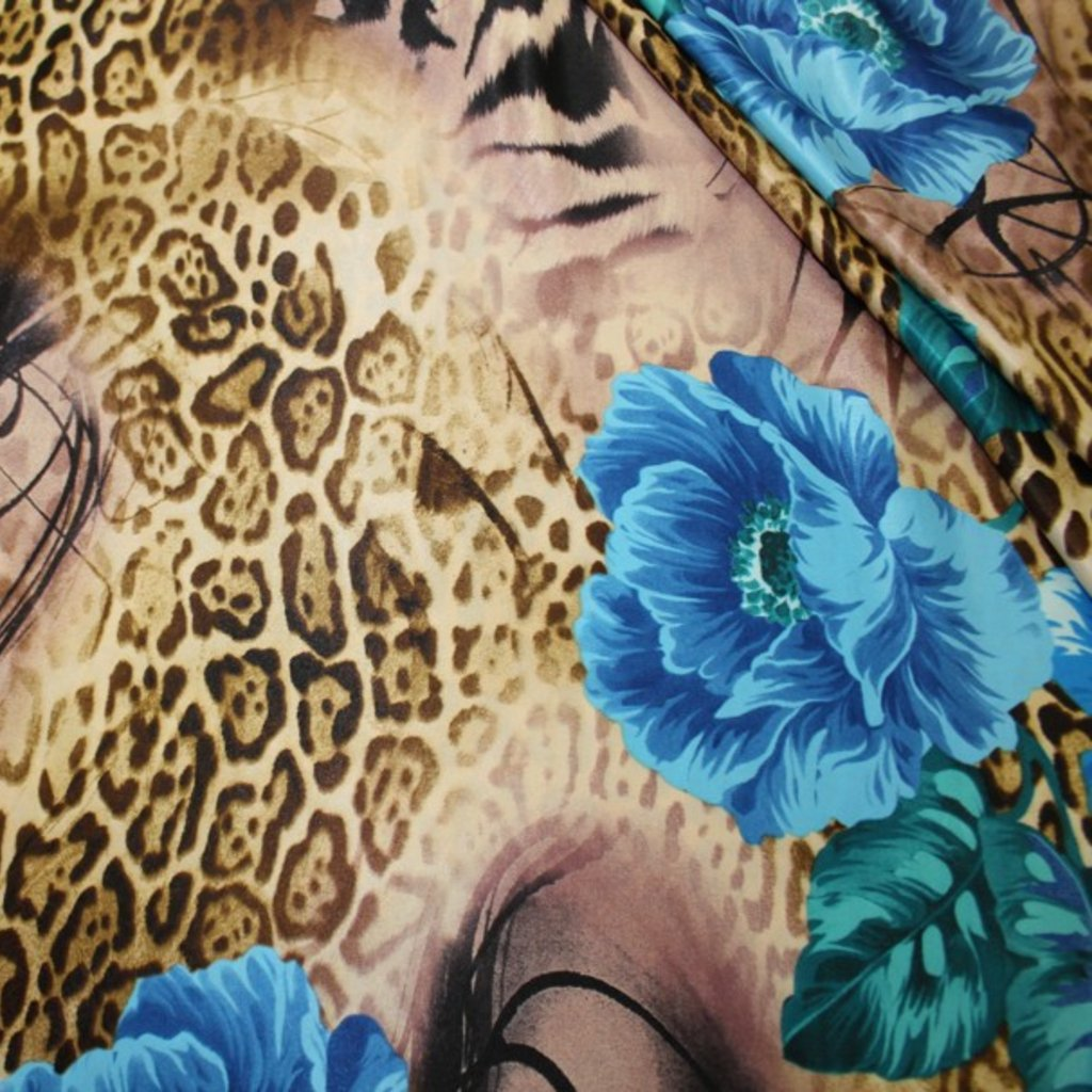 Polyester béžovomodrý