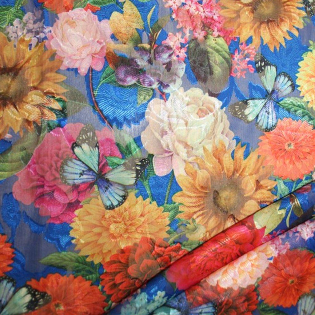 Polyester modrý s potiskem