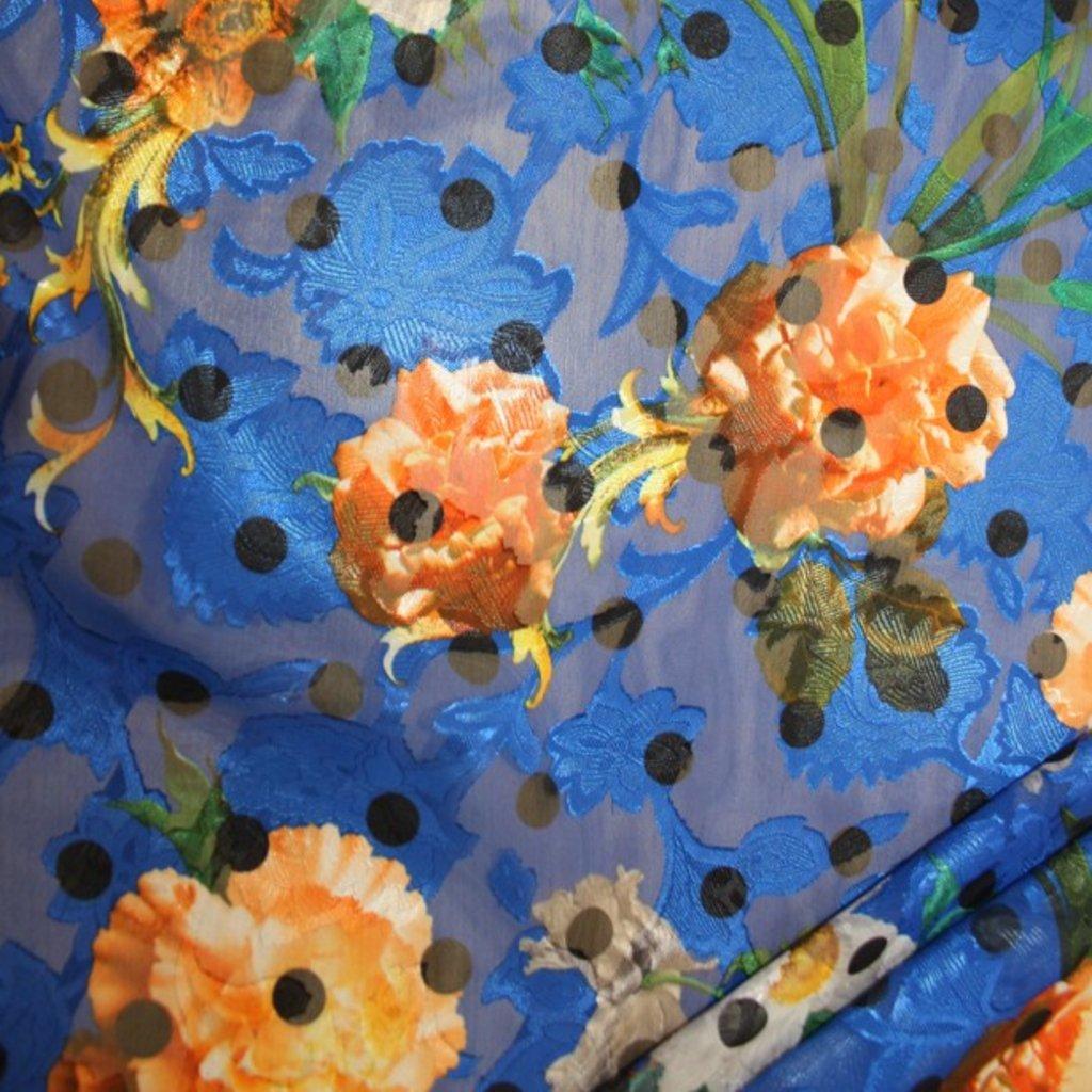 Polyester modročerný s puntíkem