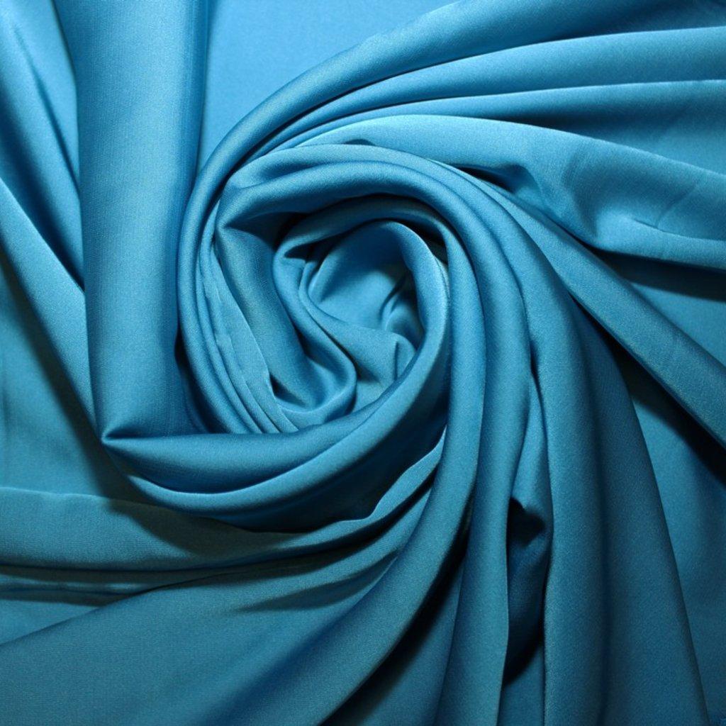 Satén tenký strečový modrý