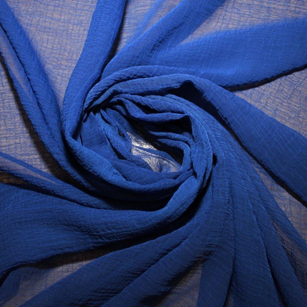 Šifon krešovaný modrý