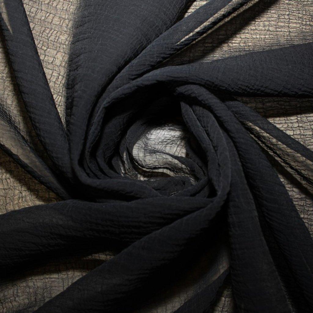 Šifon krešovaný černý