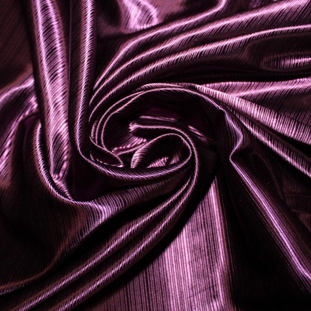 Látka atlasová fialová s proužkem