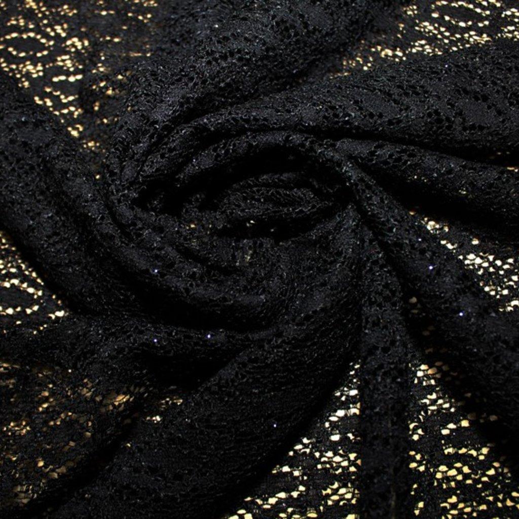 Krajka pružná černá třpitivá