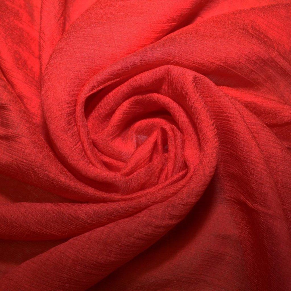 Šifon krešovaný červený hedvábný