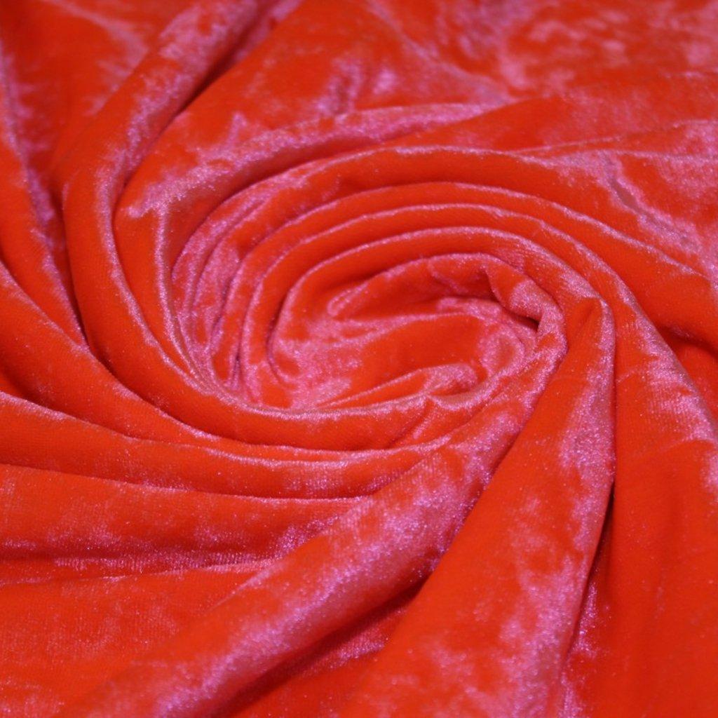 Samet pružný lesklý oranžový