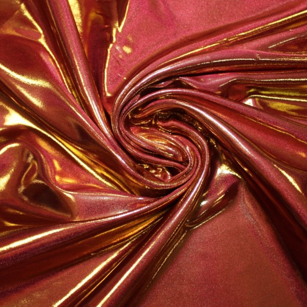 Taft lesklý tmavě červený se zlatým leskem