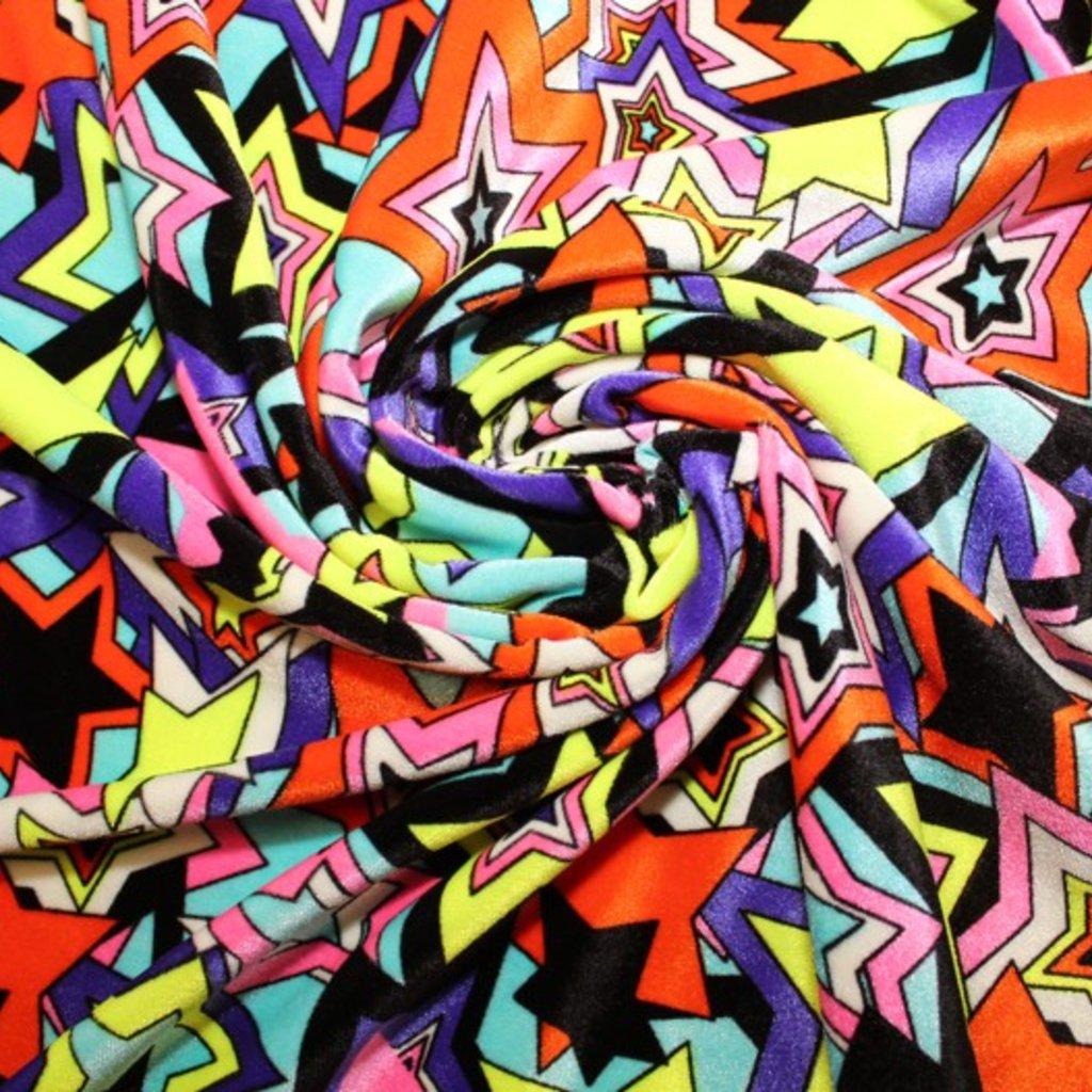 Samet různobarevný hvězdičky
