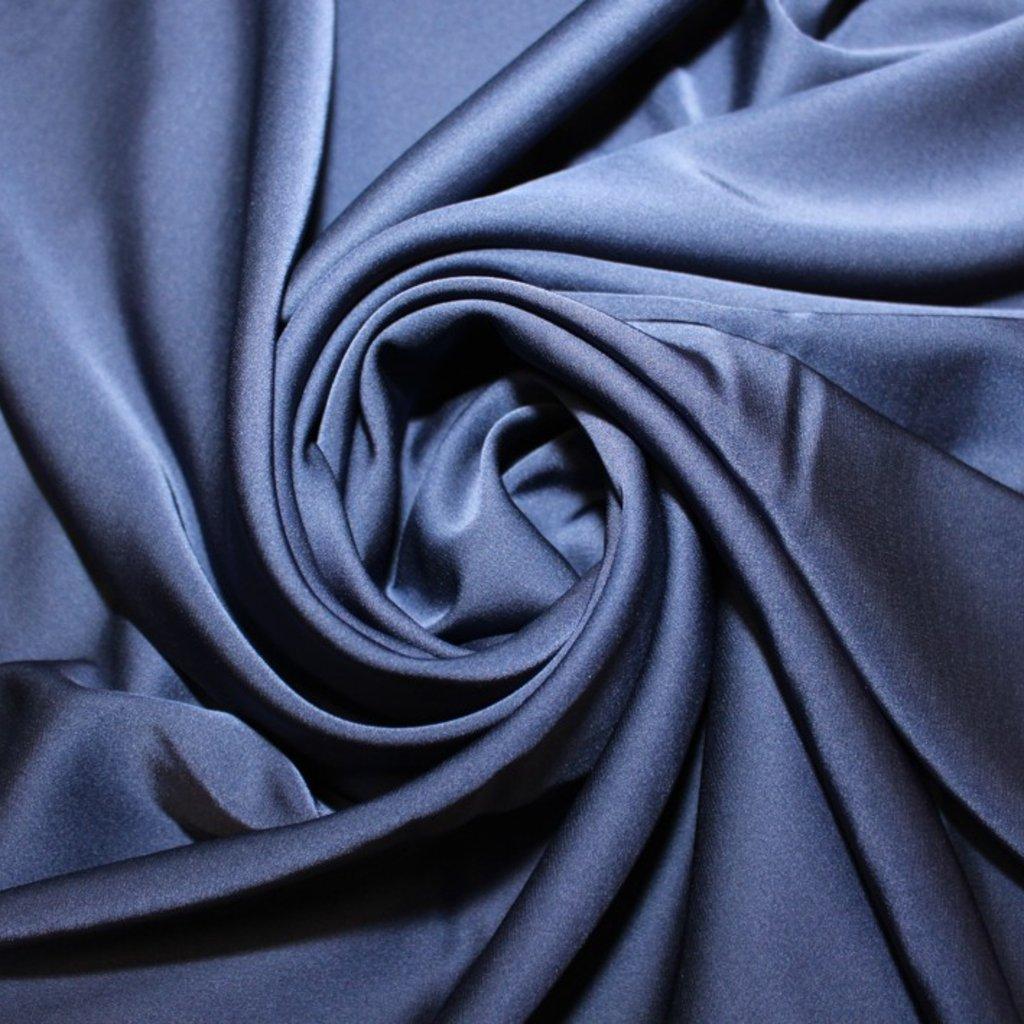 Satén jemný prádlový tmavě modrý