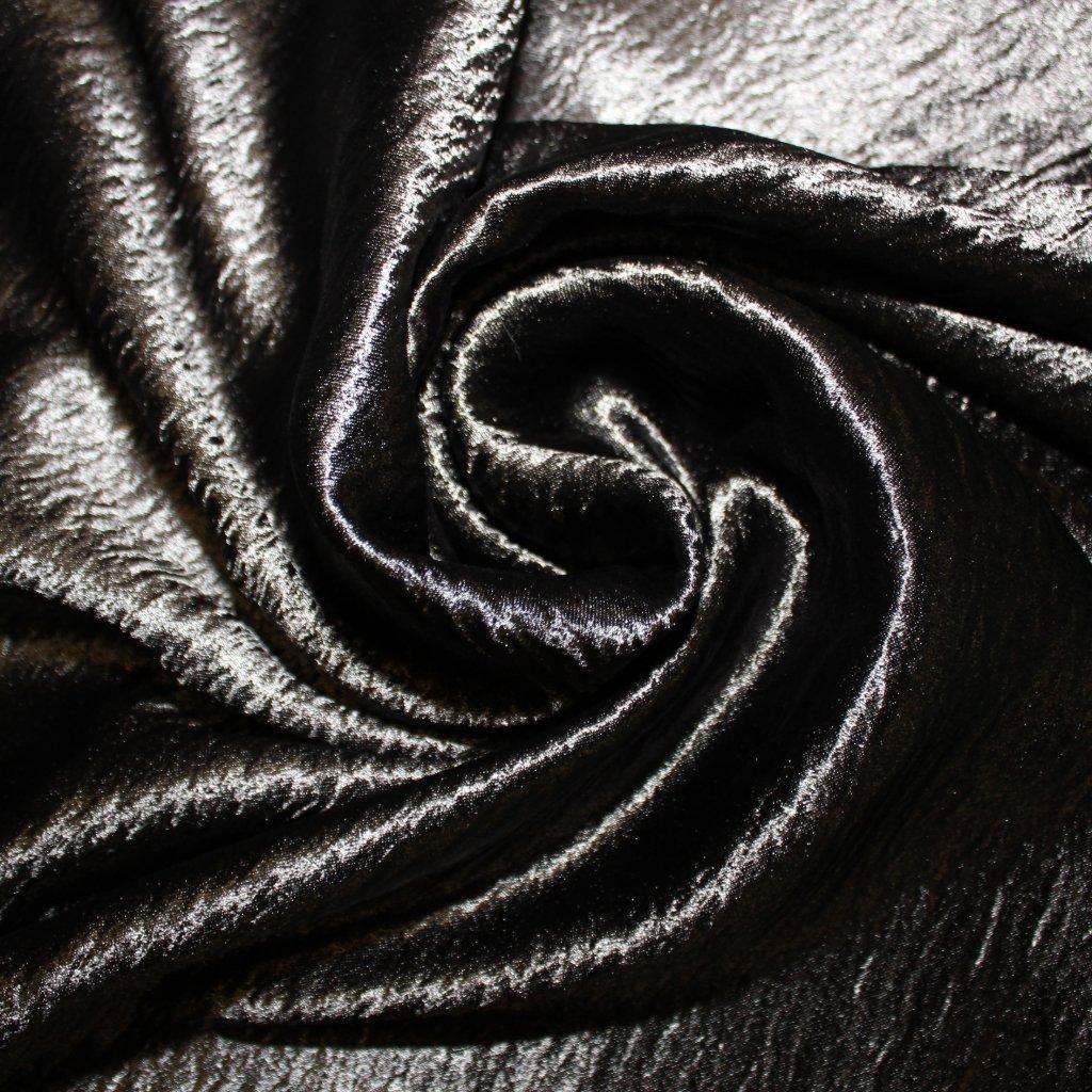 Satén krepový černý lesklý