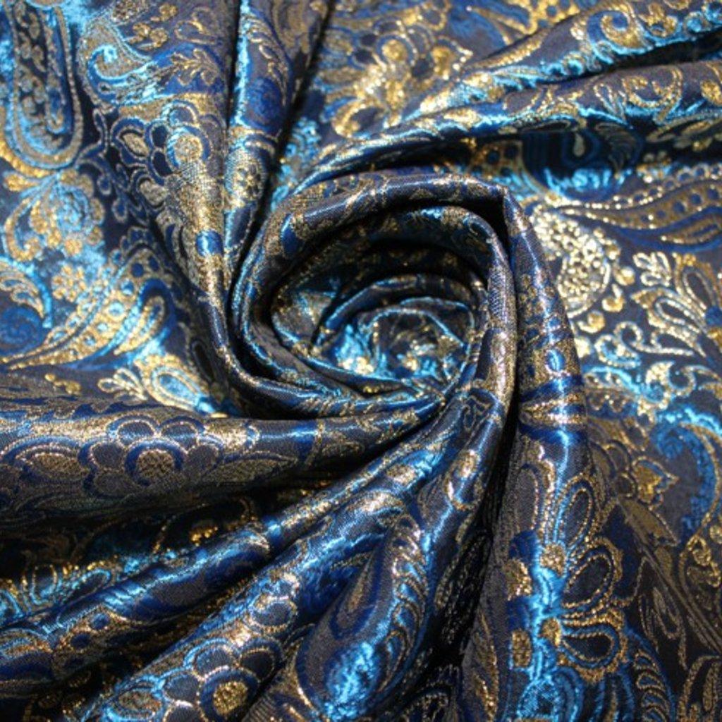 Brokát modrozlatý