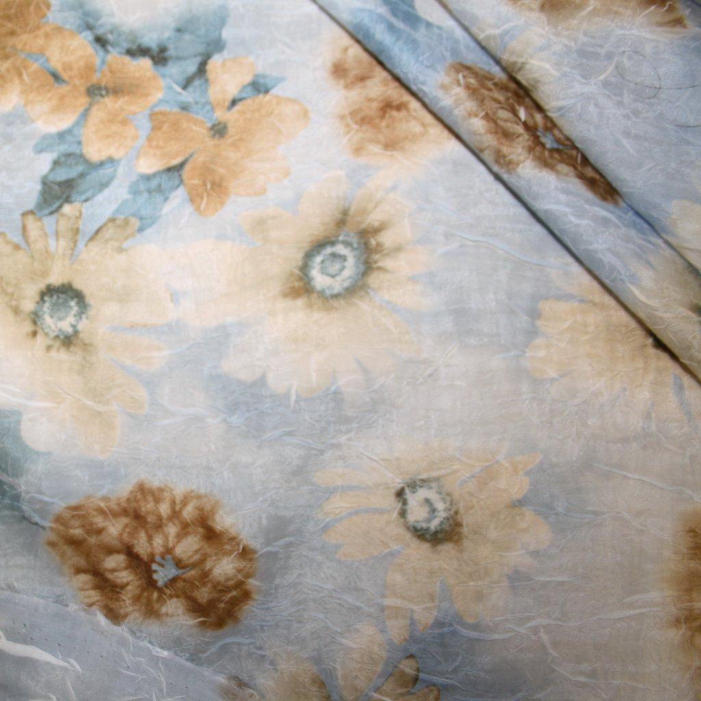 Látka s potiskem polyestrová modrobéžová