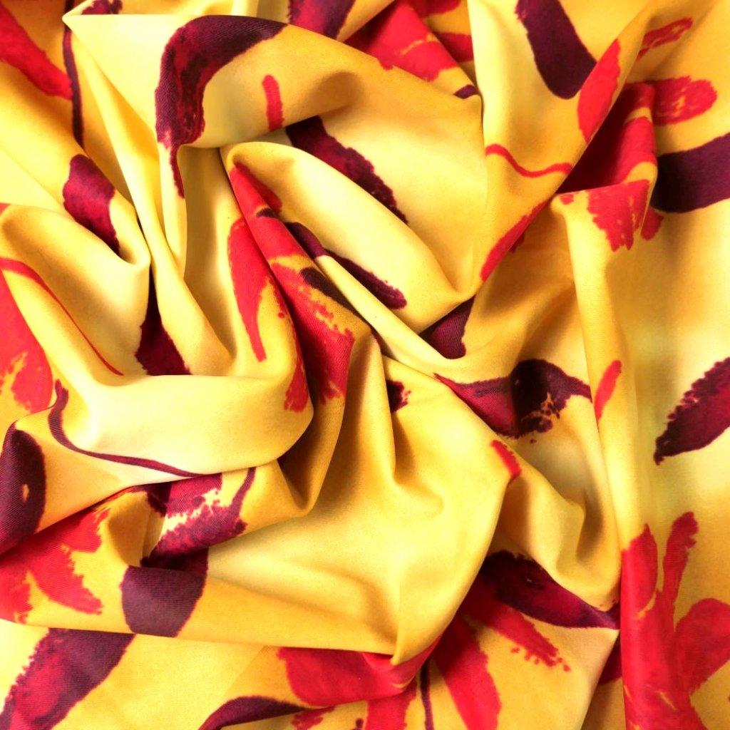 Lycra s potiskem červenobéžová
