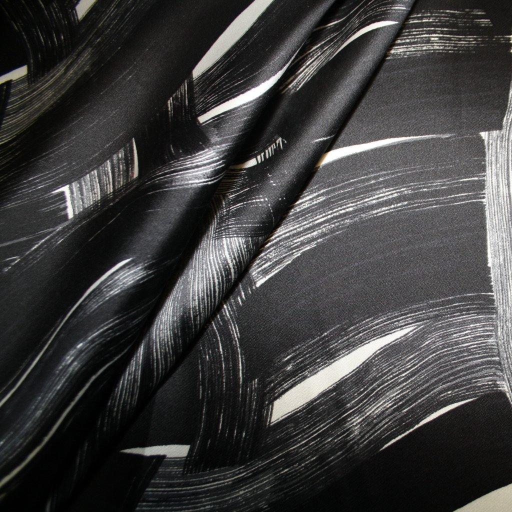 Hedvábí pravé taftové černobílé