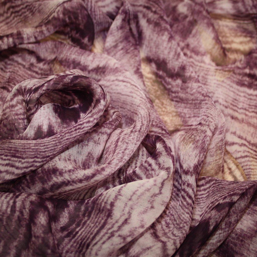 Hedvábí pravé šifónové s potiskem fialové