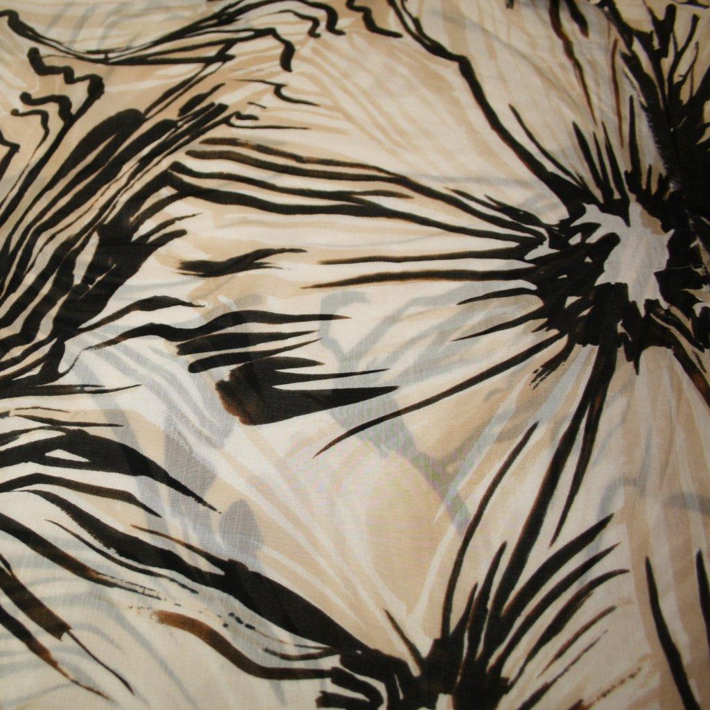 Látky s potiskem na letní šaty černobéžová