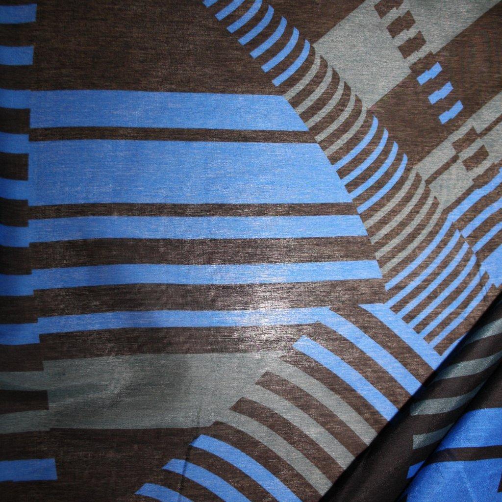 Látka s potiskem viskózová modrá