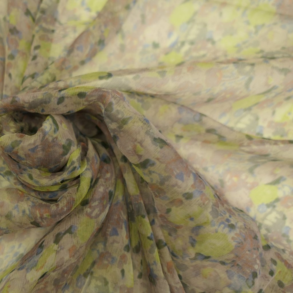 Hedvábí pravé šifonové béžové se žlutými kytičkami