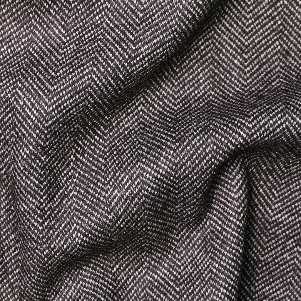 Kabátovina tmavě hnědá se zig-zag vzorem