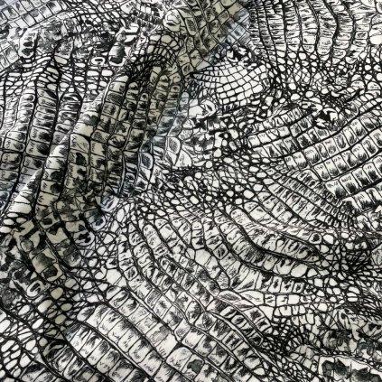 Teplákovina černo bílá se vzorem hadí kůže