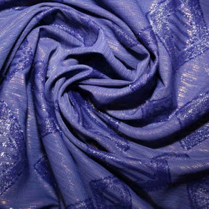 Brokát s metalickým vláknem modrý