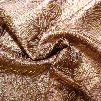 Brokát s metalickým vláknem růžovozlatý