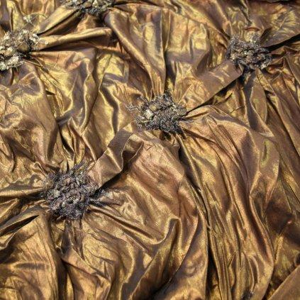 Taft vyšívaný hnědozlatý