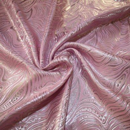 Brokát s metalickým vláknem růžový