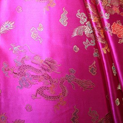 Brokát s čínským motivem růžový