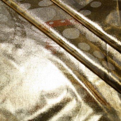 Lycra s lesklou úpravou zlatá se vzory