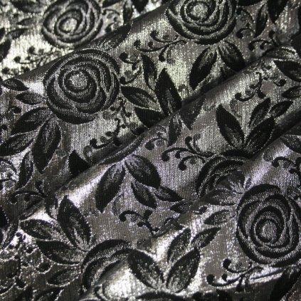 Brokát s metalickým vláknem černostříbrný