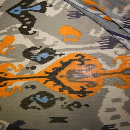 Látka s potiskem polyestrová šedá