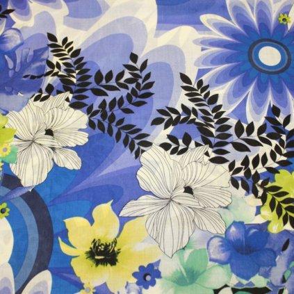 Bavlna modrá s kytkovaným vzorem
