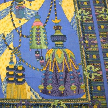 Bavlna modrá s potiskem