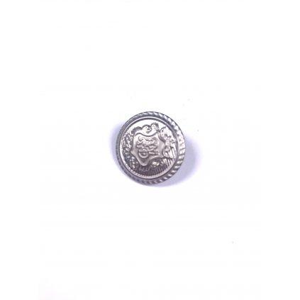 Knoflík s erbem kovový stříbrný s očkem