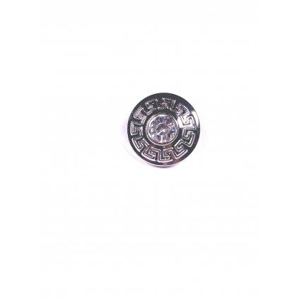Knoflík se štrasem stříbrný ozdobný s očkem