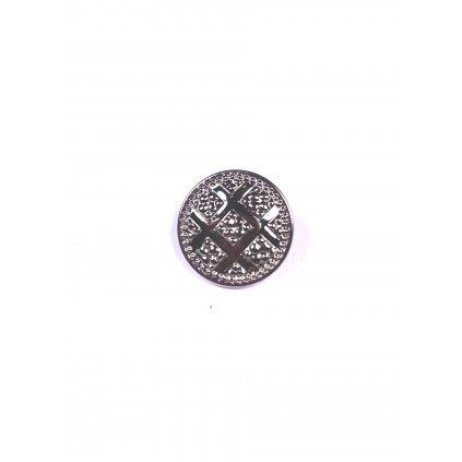 Knoflík kovový ozdobný stříbrný s očkem