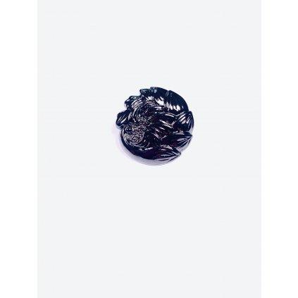 Knoflík ve tvaru kytky tmavě stříbrný lesklý