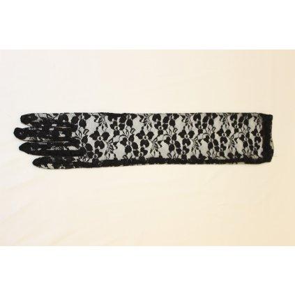 Rukavice černé krajkové dlouhé