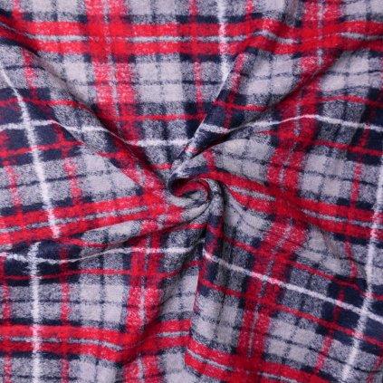 Kabátovina šedo-červená károvaná