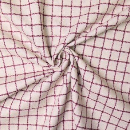 Kabátovina smetanově bílá s červenou kostkou