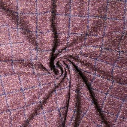 Kabátovina bordovo-modrá kostkovaná